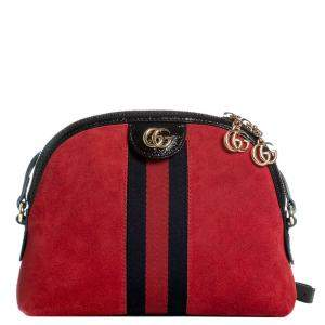 Gucci Red Suede Small Ophidia Shoulder Bag