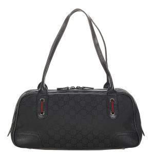 Gucci Black Canvas Fabric Princy Shoulder Bag