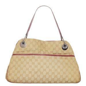 Gucci Brown/Beige Canvas Fabric Eclipse Shoulder Bag