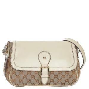 Gucci Brown/Beige Canvas Fabric Shoulder Bag