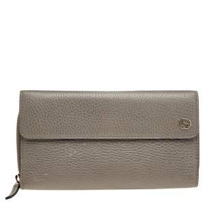 Gucci Grey Leather Interlocking G Trifold Wallet