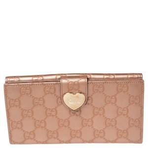 Gucci Metallic Rose Gold Guccissima Leather Flap Continental Wallet