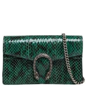Gucci Green Snakeskin Super Mini Dionysus Crossbody Bag