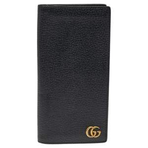 Gucci Black Leather GG Marmont Long Bifold Wallet