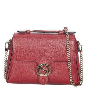 Gucci Red Leather Interlocking G Satchel Bag