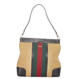 Gucci Brown Canvas Fabric Web Shoulder Bag