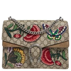 Gucci Beige/Ebony GG Supreme Canvas and Suede Medium Embroidered Butterfly/Flowers Dionysus Shoulder Bag