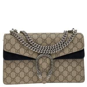 Gucci Black/Beige GG Supreme Canvas and Suede Small Dionysus Shoulder Bag