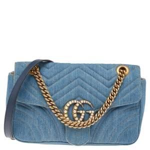 Gucci Blue Quilted Denim Pearl GG Marmont Shoulder Bag