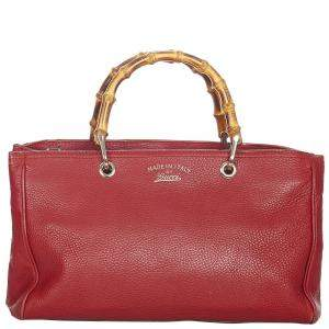 Gucci Red Leather Bamboo Shopper Tote Bag