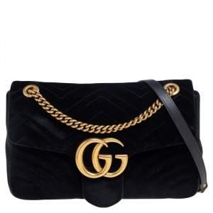 Gucci Black Matelassé Velvet Medium GG Marmont Shoulder Bag