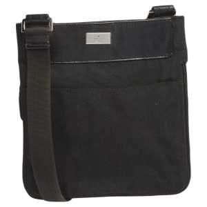Gucci Black Nylon and Leather Messenger Bag