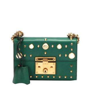 Gucci Green Leather Small Studded Padlock Shoulder Bag