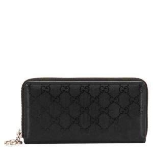 Gucci Black GG Imprime Leather Long Wallet