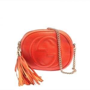Gucci Orange Leather Mini Soho Disco Chain Crossbody Bag