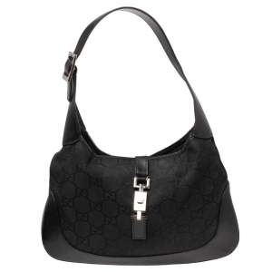 Gucci Black GG Canvas And Leather Jackie O Hobo