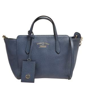 Gucci Blue Leather Swing Small Tote