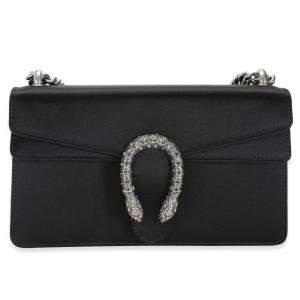 Gucci Black Satin Crystal Small Dionysus Shoulder Bag