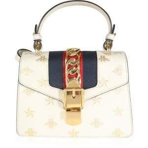 Gucci White Calfskin Leather Sylvie Bee Star Mini Top Handle Bag