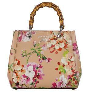 Gucci Beige Bloom Bamboo Shopper Mini Leather Satchel Bag