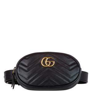 Gucci Black Leather GG Marmont Belt Bag