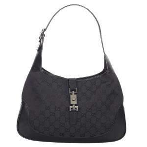 Gucci Black Canvas Fabric Jackie Shoulder Bag