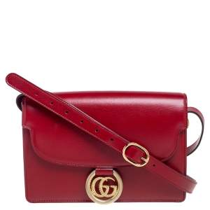 Gucci Red Leather Flap GG Ring Shoulder Bag