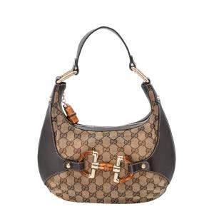 Gucci Beige/Brown Small GG Canvas Small Amalfi Hobo Bag