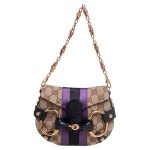 Gucci Tricolor GG Canvas Satin Web Small Horsebit Shoulder Bag