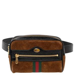 Gucci Brown Suede and Patent Leather GG Ophidia Belt Bag