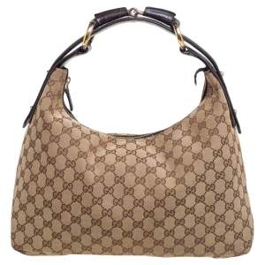 Gucci Beige Brown GG Canvas and Leather Horsebit Hobo