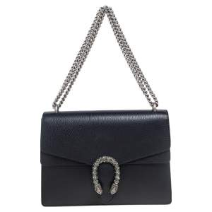 Gucci Black Leather Medium Dionysus Shoulder Bag