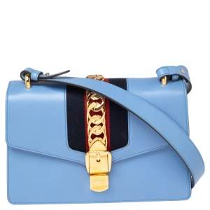 Gucci Sky Blue Leather Small Web Chain Sylvie Shoulder Bag
