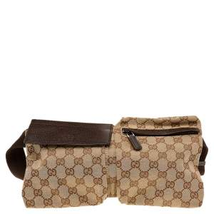 Gucci Beige/ Brown GG Canvas And Leather Belt Bag