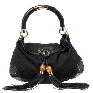 Gucci Black GG Canvas And Leather Medium Babouska Indy Hobo