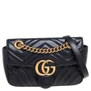 Gucci Black Matelassé Leather Mini GG Marmont Shoulder Bag