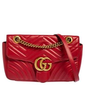 Gucci Red Matelasse Leather Small GG Marmont Shoulder Bag