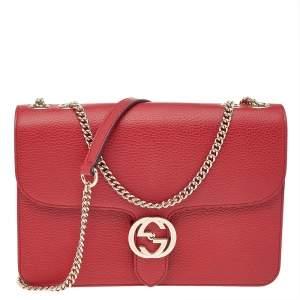 Gucci Red Leather Dollar Interlocking Shoulder Bag