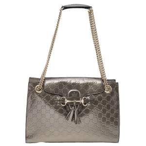 Gucci Metallic Grey Guccissima Leather Large Emily Chain Shoulder Bag