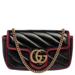 حقيبة كتف غوتشي تورشون سوبر ميني GG مارمونت جلد ماتيلاس أسود / أحمر