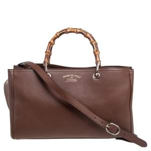 Gucci Brown Leather Bamboo Shopper Tote Bag