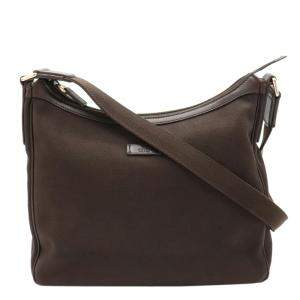 Gucci Brown Canvas Leather Shoulder Bag