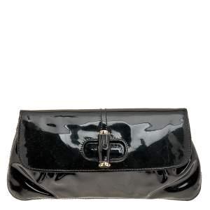 Gucci Black Patent Leather Bamboo Clutch