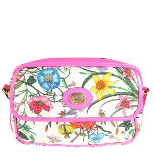 Gucci Pink Flora Canvas Leather Small Shoulder Bag