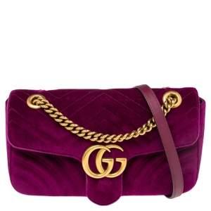 Gucci Purple Matelassé Velvet Small GG Marmont Shoulder Bag