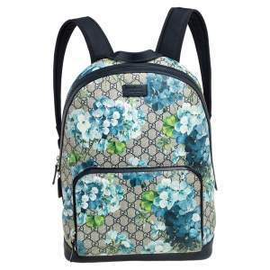 Gucci Beige/Blue GG Blooms Supreme Canvas and Leather Backpack