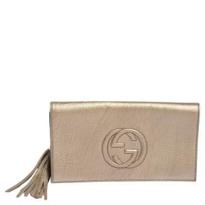 Gucci Metallic Gold Pebbled Leather Soho Clutch