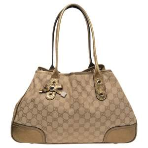 Gucci Gold/Beige GG Canvas and Leather Princy Tote