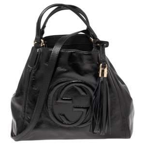 حقيبة يد غوتشي سوهو كونفرتيبل صغيرة جلد لامع أسود
