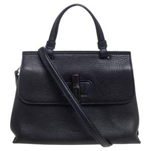 Gucci Black Leather Small Bamboo Daily Top Handle Bag